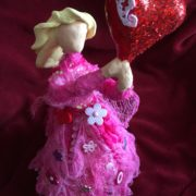 Creative Paperclay and Paverpol pink bottle doll valentine  by gloricom   (334)